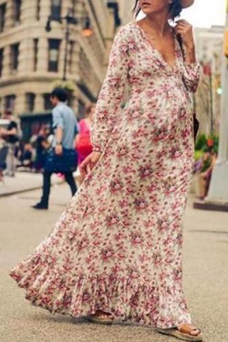 Maternity Fashion Printed Long Sleeve Hem Ruffled Dress