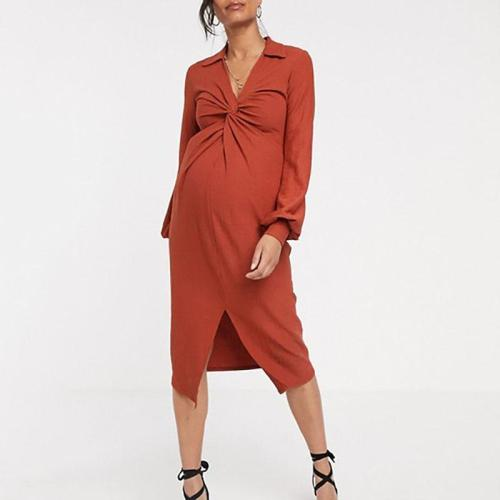 Maternity Casual V Neck Long Sleeve Pure Colour Slit Dress