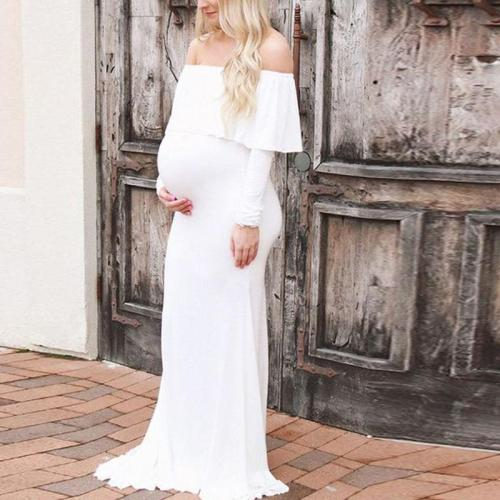 Maternity Word Collar Long Sleeve Solid Color Dress