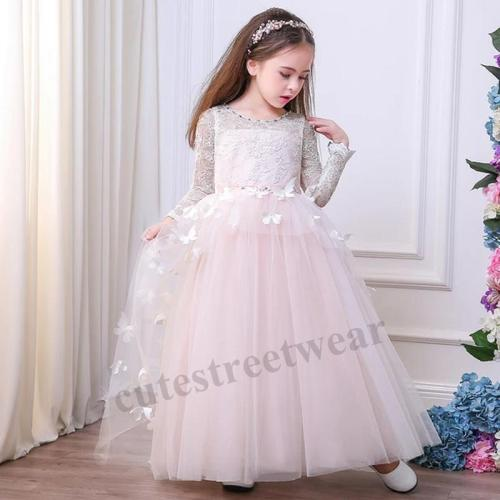 2020 new children's skirt ins new long-sleeved girl's  fluffy princess skirt three-dimensional butterfly Dress