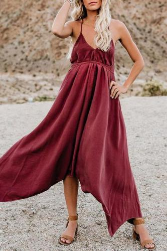Maternity Solid Color V-Neck Backless Maxi Dress