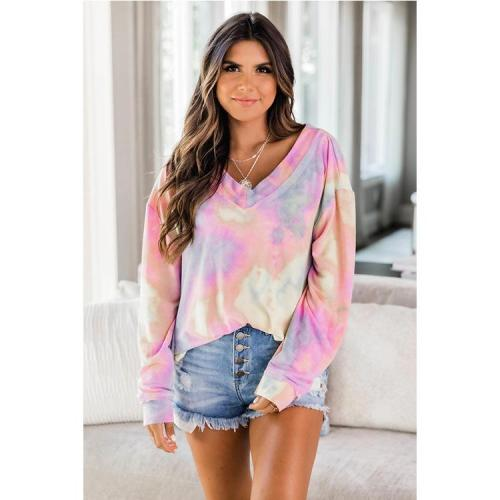 Dress Dress Autumn and Winter New Loose Leisure V Tie-dyed Collar