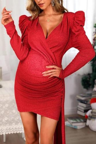 Maternity Red Christmas Party Dress