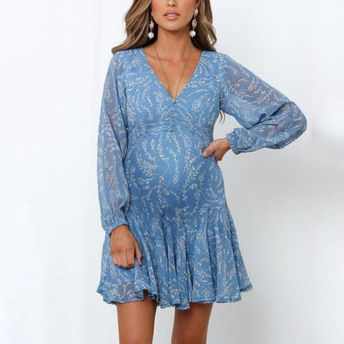 Maternity Fashion Decorative Button Pleated V-Neck Long Sleeve Dress