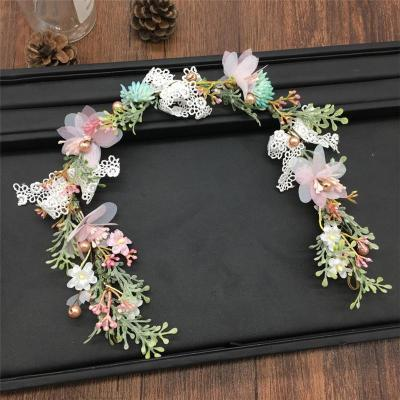 Flower crepe lace garland headband headdress