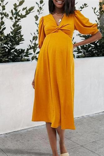 Maternity Casual V Neck Halflong Sleeve Pure Colour Dress
