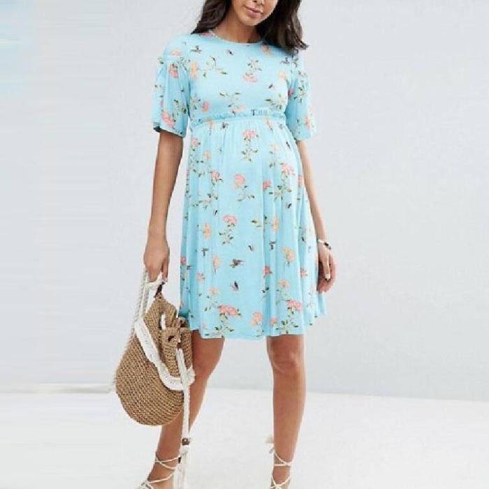 Maternity Floral Trumpet Short Sleeve Dress