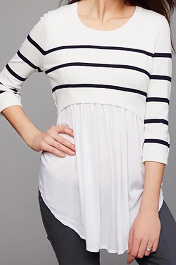 Nursing Top Striped Chiffon Patchwork Pregnancy Shirt
