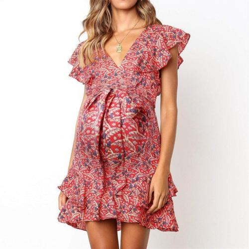 Maternity Sweet V-Neck Printed Color Ruffled Ruched Dress
