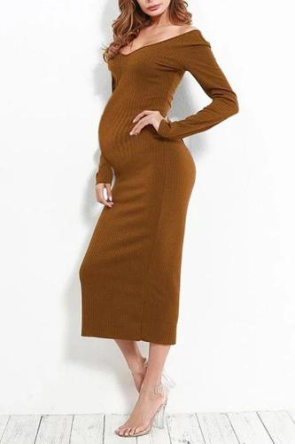Maternity Sexy Off-The-Shoulder Dress