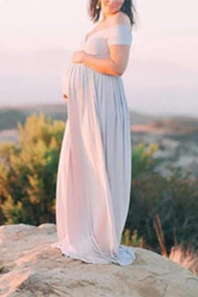 Maternity Sexy High Slit Pure Color Off Shoulder Dress