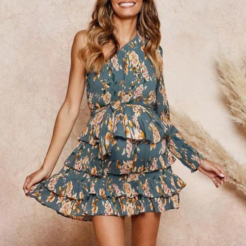 Maternity Women's Slant-Shoulder Printed High-Rise Chiffon Dress