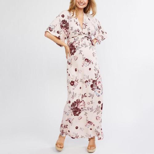 Maternity Floral Deep V Halflong Sleeves Long Dress