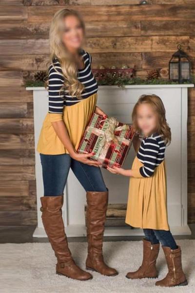 Mom Girl Leisure Round Neck Striped Splicing Matching Dress