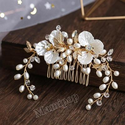 Gold Women Hair Jewelry Handmade Flower Crystal Pearl Photography Accessory