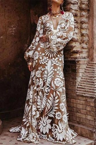 Maternity Bohemian V Neck Long Sleeve See-Through Printed Colour Dress