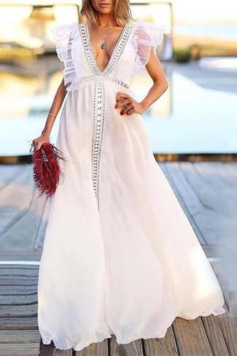 Maternity V-Neck Lace Backless Beach Dress Evening Dress