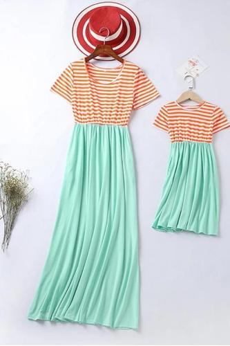 Mom Girl Short Sleeve Splicing Striped Matching Dress