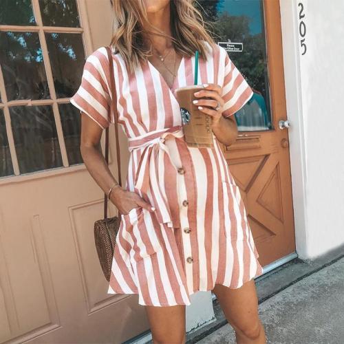 Maternity V-Neck Stripe Tie Above Dress
