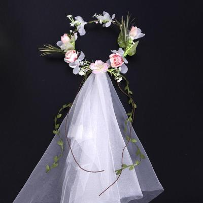 Maternity romantic creamy-white mesh simulated rose headwear