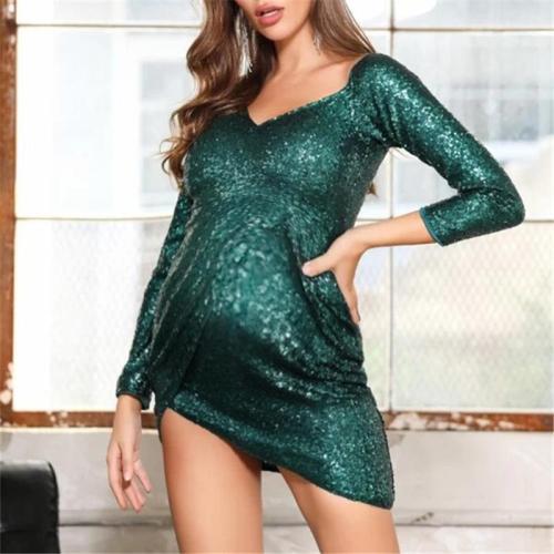 Maternity Long Sleeve Irregular Hem Bodycon Dress