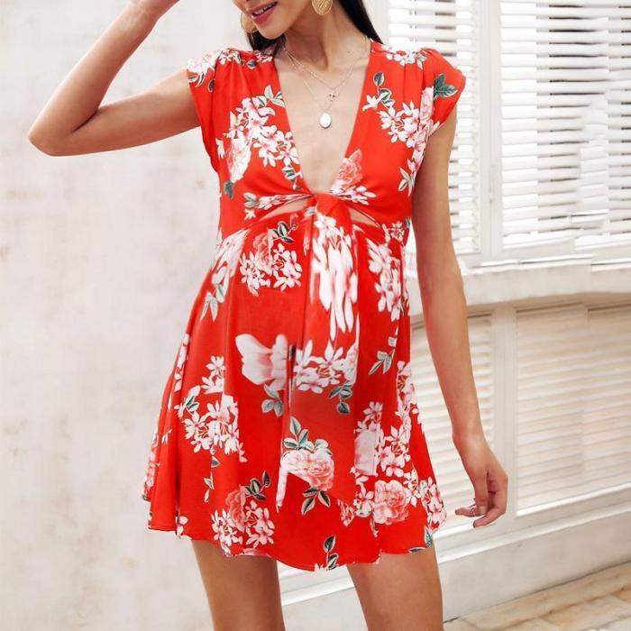 Maternity Deep V-Neck Printing Casual Dress