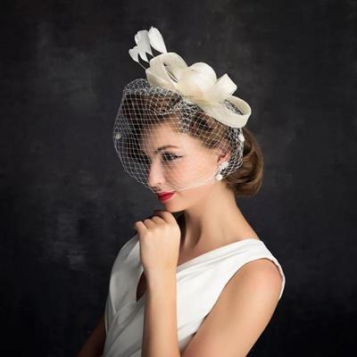 Bride Net Yarn Bow Tiara Hat  Party Net Yarn Hat Headpiece