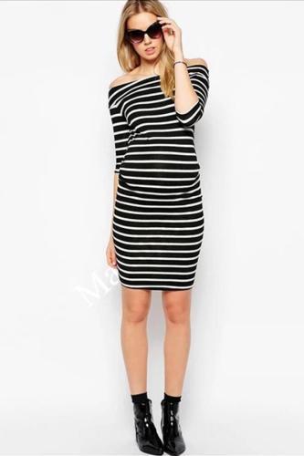 Maternity  Summer Half Sleeve Shoulderless Knee Length Striped Dress