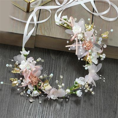 Pearl flower headband garland headdress