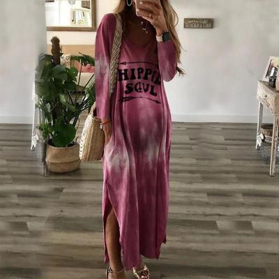 Maternity V Neck Long Sleeve Printed Color  Dress