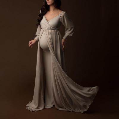 Maternity V Neck Pure Color Long Sleeve Mesh Dress