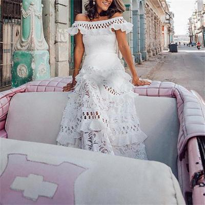 Maternity Off-The-Shoulder Splicing Ruffle Hollow Maxi Dress