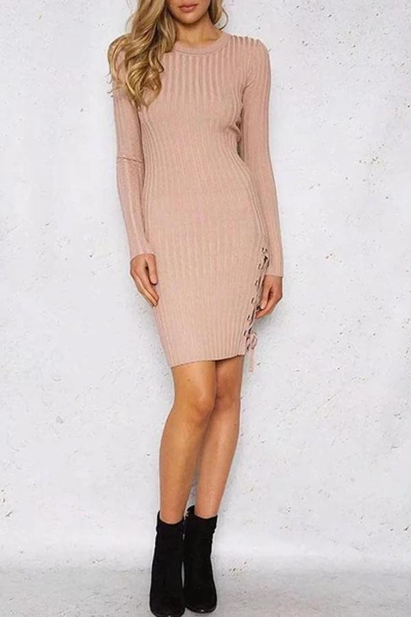Elegant Round Neck Pure Colour Belted Bodycon Dress