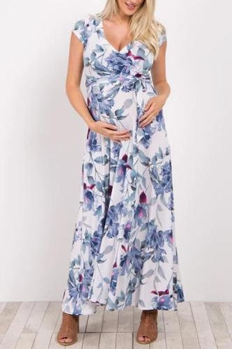 Maternity Elegant V-Neck Floral Print With Short-Sleeve Dress