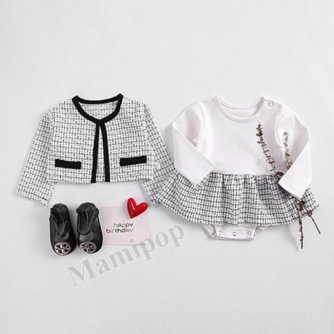 0-2-year-old Girl Baby Princess Temperament Long Sleeve Cardigan + Hami Skirt