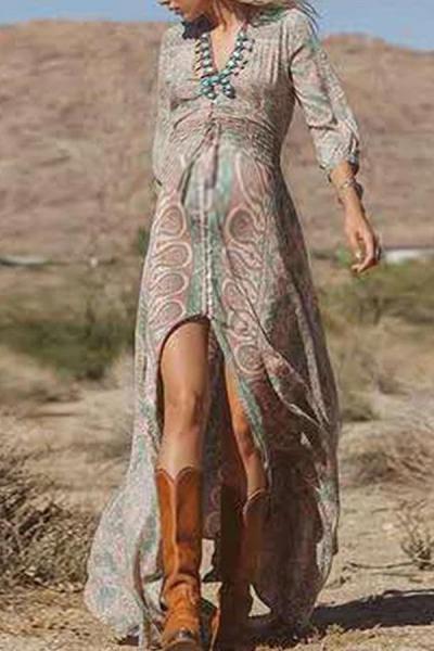 Maternity Casual Printed Slit V Neck Dress