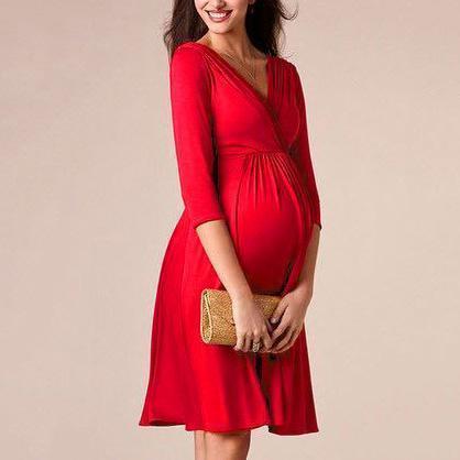 Maternity Solid Red V-Neck Midi Dress