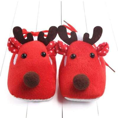 Newborn Infant Baby Shoes Winter Reindeer Soft Sole Anti-slip (colors available)