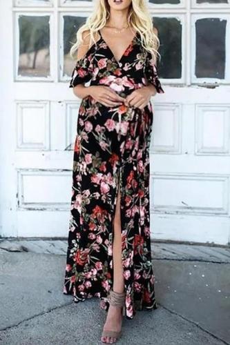 Maternity Vacation V-neck black print off-shoulder split dress