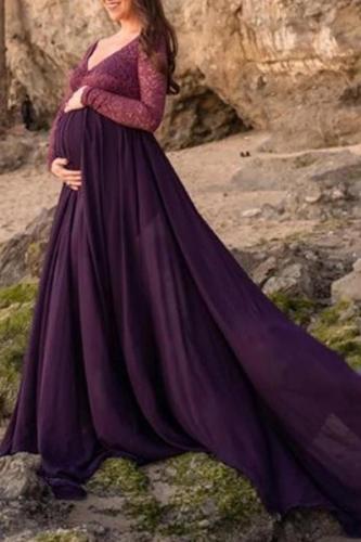 Maternity V-Neck Long Sleeve Splicing Maxi Dress
