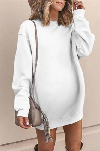 Maternity Round Neck Long Sleeve Mid-Length Sweater Dress