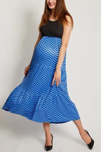Maternity Wavy Stripes Sleeveless Matching Dress