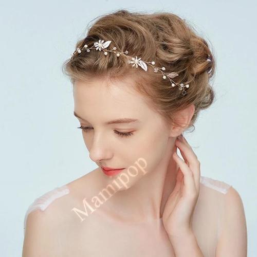 Floral Girl's Headband Gold Leaves Maternity Photography Hair Vine