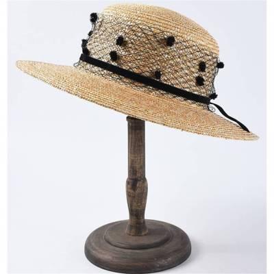 Vintage Wind Mesh Flat Top Straw Hat