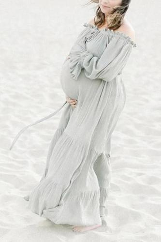 Fashion word collar long sleeve maternity dress