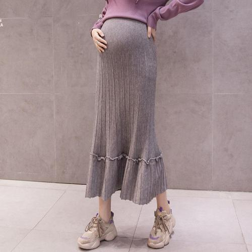 Maternity Solid Colour Loose Knit Skirt
