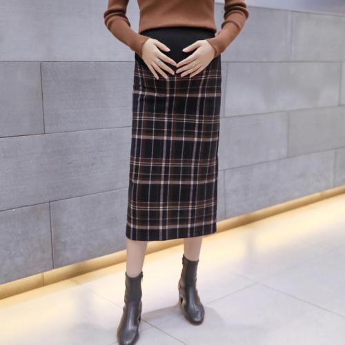 Maternity wear casual woolen plaid split stomach lift skirt