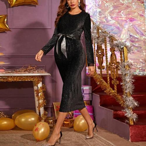 Maternity Elegant Round Neck Stripe Lace Up Evening Gown