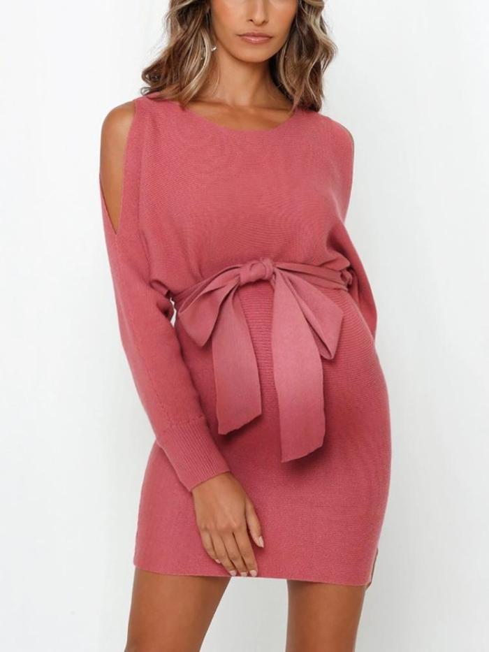 Maternity Round Neck Off-The-Shoulder Strap Plain Dress