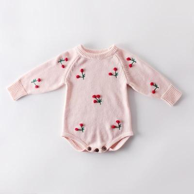 Autumn New Baby Cherry Long-sleeved Knitted Sweater